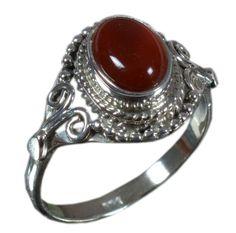925 Solid Sterling Silver Ring Natural Carnelian Gemstone US Size 6.5 JSR-1588 #Handmade #Ring