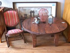 Artist Made Industrial Wire Spool Table @ Covet