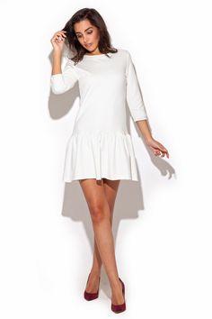 Bawełniana Sukienka z Falbanką u Dołu Ecru
