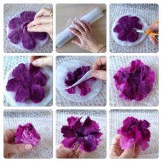 Tovade blommor med flera lager kronblad - Her Crochet Felt Diy, Handmade Felt, Handmade Flowers, Felt Crafts, Felted Wool Crafts, Handmade Headbands, Handmade Rugs, Bright Flowers, Felt Flowers