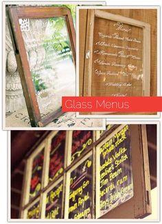 glass window wedding menus