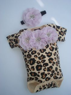 Leopard Baby Girl Onesie Set Short Sleeve Onesie set with Chiffon Flowers and Rhinestones on Etsy, $28.00