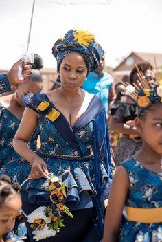 A Tswana Inspired Traditinal Wedding African Bridal Dress, African Print Wedding Dress, African Wedding Attire, African Prom Dresses, African Attire, African Fashion Dresses, Seshweshwe Dresses, African Weddings, Zulu Traditional Wedding Dresses