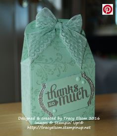Thank you gift box created with the Bakers Box Thinlits Dies and BYOP Stamp Set from Stampin' Up!  http://tracyelsom.stampinup.net
