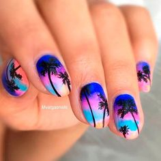 Cool Tropical Nails Designs for Summer ★ See more: https://naildesignsjournal.com/tropical-nails-designs/ #nails