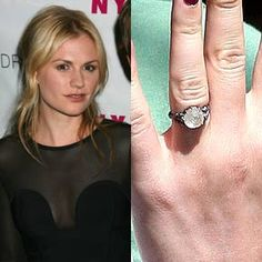Stephen Moyer worked with jeweler Cathy Waterman to design this rustic diamond engagement ring for Anna Paquin. Moyer proposed on the beach in Hawaii.