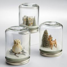 $30? WTH? Did anyone else make these out of babyfood jars as a kid? winter wonderland snow globe from RedEnvelope.com
