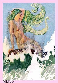 Green Hair Victorian  Mermaid Travel Poster Fabric Block 4 Quilt Block Applique by wwwvintagemermaidsfabricblockscom $7.00