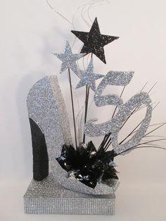 50th high heel silver shoe birthday centerpiece - Designs by Ginny