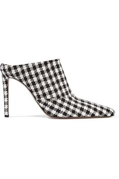 Altuzarra - Davidson Houndstooth Canvas Mules - Black - IT38.5