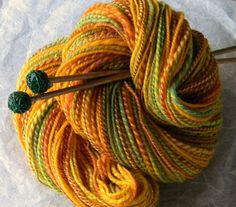 Saffron and Limes- Handspun Hand dyed Soft Merino Wool Yarn