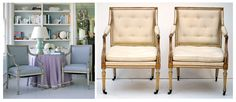 French painted & gilt armchairs.  Pair on the right are George III painted & gilt armchairs, (ca.1785) from Susquehanna Antique Company.  http://www.susquehannaantiques.com/items/1210225/item1210225store.html