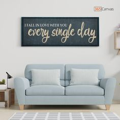 "If you need a special occasion gift for your boyfriend, girlfriend, or lover, you can't go wrong with this sign. Our canvas print features the quote, ""I Fall in Love With You Every Single Day"" in a bold, elegant script. The ""I Fall in Love With You Every Single Day"" print looks fabulous in any room. Its classic lines and neutral colors complement any decor, and it can dress a space up. #canvasprint#decor#housewarminggift#anniversarygift#couple"