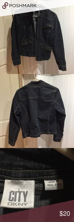 """DKNY Denim Zipper Jacket Denim Jacket by DKNY / brand new condition! / should to hem length: 22"""" / feel free to ask questions or make an offer! 😊 Dkny Jackets & Coats Jean Jackets"""