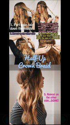 How to: half up crown braid
