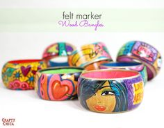 Felt Marker Wood Bangle - The Crafty Chica : Felt Marker Wood Bangle - i love the feeling of marker on wood, here is my tutorial! Crafts For Seniors, Crafts For Kids, Arts And Crafts, Wood Bracelet, Craft Stick Crafts, Diy Crafts, Christmas Activities, Craft Tutorials, Craft Ideas