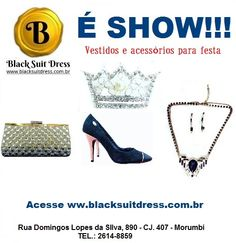 #sapatodefesta #clutch #colar #brinco #festa #casamento #formatura #15anos Black Suit Dress, Black Suits, Shopping, Dresses, Party Shoes, Ear Rings, Necklaces, Vestidos, Black Outfits