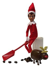 Elf On The Shelf Shoveling Jelly Beans From Pooping Reindeer with Bonus LED Pillar Candle