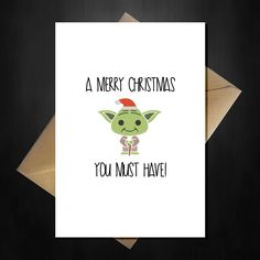 Star Wars Xmas Card - Yoda says a Merry Christmas you must have - A5 Funny R2D2