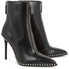 Alexander Wang Eri Black Studded Leather Ankle Boots - Size 6 found on Polyvore featuring polyvore, women's fashion, shoes, boots, ankle booties, leather bootie, black leather booties, ankle boots, black high heel boots and black pointed toe booties