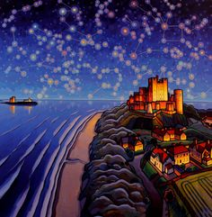 """Oh I so love this guys pictures it's Jim Edwards of course 'Towards Bamburgh' by him. I love the sky too , he's gone a little wild and astronomy bonkers. H&DrS 🍁🐶📚🎃"" Durham City, Angel Of The North, Professional Painters, Environmental Art, Mountain Landscape, Guy Pictures, Newcastle, Landscape Paintings, Art Paintings"
