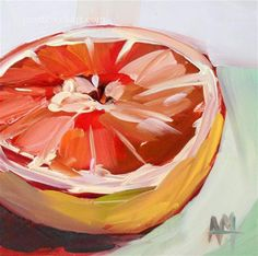 """Pink Grapefruit Half no. 7"" - Original Fine Art for Sale - © Angela Moulton"