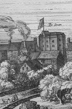 The Swan Theatre, London, circa 1616. Detail from van Visscher's original panorama, circa 1616