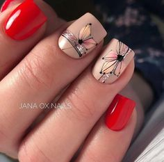 Cute Gel Nails, Red Nails, Pretty Nails, Nail Designs Spring, Nail Art Designs, Nail Art Fleur, Line Nail Art, Nagellack Design, Nail Candy
