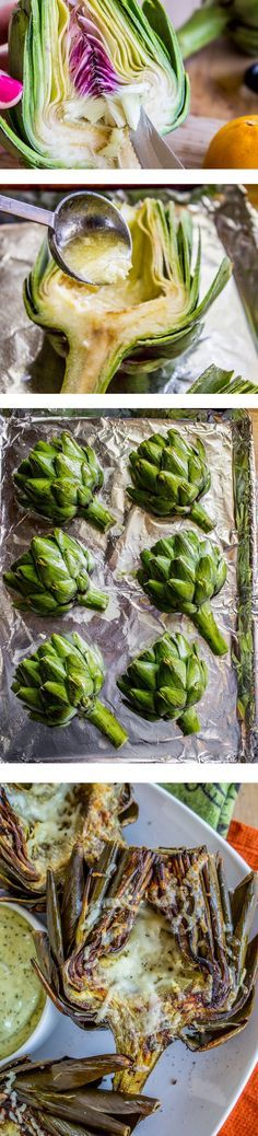 Garlic Roasted Artichokes from The Food Charlatan. Unbelievably easy and so flavorful! Roasted in a garlic lemon butter sauce and dipped in pesto mayonnaise, artichokes are a show-stopping appetizer or side dish.