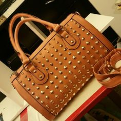 Beautiful purse This peach structured and studded bag is soft leather absolutely gorgeous it's a reposher product new when purchased only used once Bags Totes