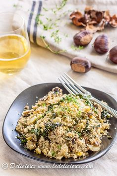 "Cauliflower ""Couscous"", Mushroom, Walnut, and Thyme Salad (made recipe Paleo by subbing caul for real couscous. Use whatever nut you like.)"