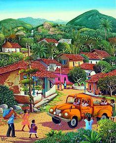 Wall mural El Salvador ~ Fausto Perez ~The Village Transport Art Village, Haitian Art, Cuban Art, Naive Art, Outsider Art, Whimsical Art, African Art, Amazing Art, Folk Art