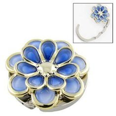"""Amico Foldable Blue Flower Shape Handbag Round Hanger Table Hook by Amico. $6.28. Main Material: Metal, Rubber; Design: Blue Flower Shaped. Dimension (Folded): 4.4 x 1.3cm/ 1.7"""" x 0.5""""(D*H). Weight: 46g; Package Content: 1 x Handbag Hook. Product Name: Handbag Hook. Total Length(Unfolded): 8cm/3.15"""" (Approx); Main Color: Silver Tone, Blue. Elegant appearance The Handbag Hook with blue flower shaped, rubber material on the bottom, more safe and stable to hook y..."""