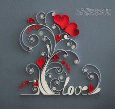 Arte papel quilling amor árbol encañonado por QuillingbyLarisa
