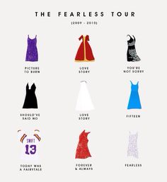some of Taylor Swift's outfits from the fearless tour