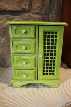 Shabby Chic Distressed Lime Green Jewelry Box by vinestjewelry, $28.00