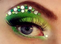 Pretty green gradient eye shadow with assorted gemstone accents.