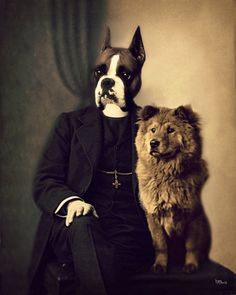 """""""Father Chow and His Dog Boxer"""" by Watchful Crow on Etsy"""