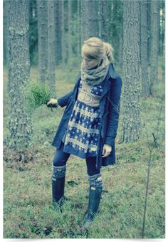 My Wardrobe Fall: Grey wool dress over black turtleneck, mustard leggings, knee socks, wellies, black trench and infinity scarf. Winter Wear, Autumn Winter Fashion, Fasion, Fashion Outfits, Womens Fashion, Winter Stil, Mode Inspiration, Fashion Inspiration, Clothes