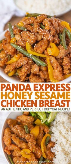 Panda Express Honey Sesame Chicken Breast is a healthier twist on Orange Chicken with white meat green beans and bell peppers copycat chinesefood pandaexpress dinner chicken dinnerthendessert Orange Chicken Copycat Recipe, Baked Orange Chicken, Honey Sesame Chicken, Orange Chicken Breast Recipe, Healthy Sesame Chicken, Restaurant Recipes, Dinner Recipes, Panda Express Recipes, White Meat