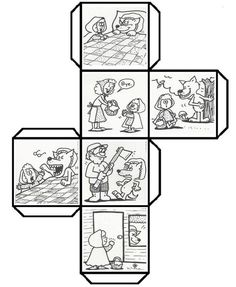 Have students color, cut, fold, and paste to make a story cube that can be used to retell Story Cubes, English Activities, Book Activities, Little Pigs, Little Red, Fairy Tale Crafts, Story Sack, Traditional Tales, Retelling