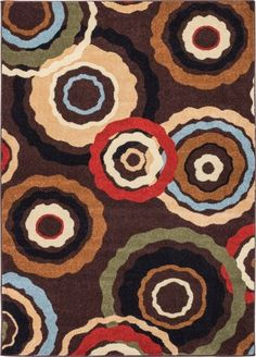 Pop In And Out Circles Brown Modern Rug