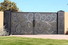 Driveway Gate this site has lots of unique iron gate options. luv, luv, luv this gate! could we accommodate to hinge up? House Main Gates Design, Front Gate Design, Door Gate Design, House Design, Design Homes, Simple Gate Designs, Front Gates, Entrance Gates