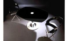 Mesa comedor de diseño en cristal negro 130 x 90 x 76 cm