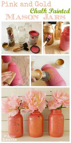 How to make your own easy and super pretty chalk painted Mason Jars in any color you wish - these are pink and gold with gold wax - tutorial at The Happy Housie Pink Mason Jars, Pot Mason, Mason Jar Vases, Bottles And Jars, Mason Jar Diy, Glass Jars, Chalk Paint Mason Jars, Painted Mason Jars, Chalkboard Paint