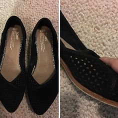 TOMS Laser Cut Suede Flats - Would LOVE these in this exact color! Black / Size: 8.5
