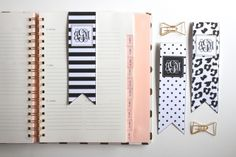 Free Printable Black and White Monogram Bookmarks by Jessica Marie Design