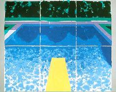 David Hockney, Piscine Avec Trois Bleus, 1978  pressed paper pulp, 72x85 1/2 in.