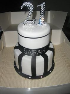 21 birthday cake - love the diamonds and the steamed look. -shannon