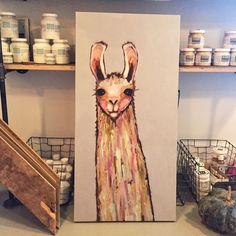 lovely little llama on canvas